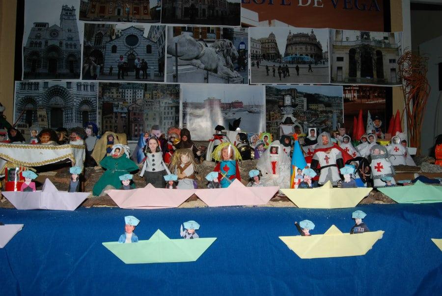 Detalle del belén de Navidad realizado por los niños y niñas del CEIP Lope de Vega de Leganés