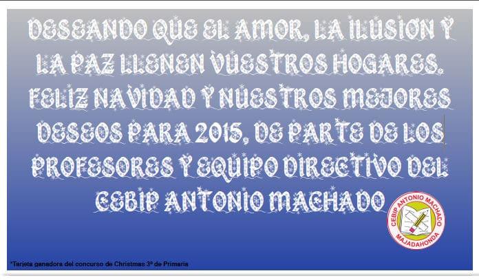 Felicitación navideña del CEIP Antonio Machado de Majadahonda (Madrid)