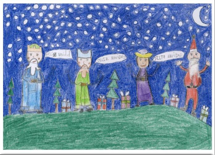 Ilustración de la felicitación navideña del CEIP Antonio Machado de Majadahonda (Madrid)
