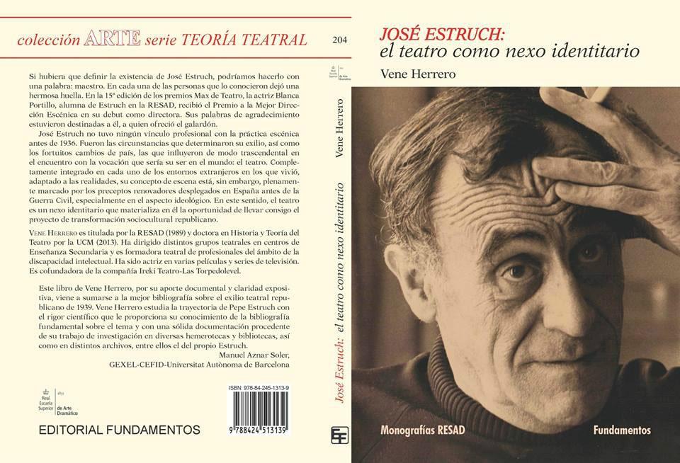 Cubiertas del libro de Vene Herrero: José Estruch, el teatro como nexo identitario.