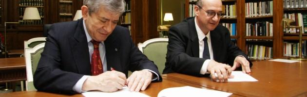 Enrique Barón y Jordi Pardo en la firma del convenio de colaboración entre la FYME y la Fundació Pau Casals.