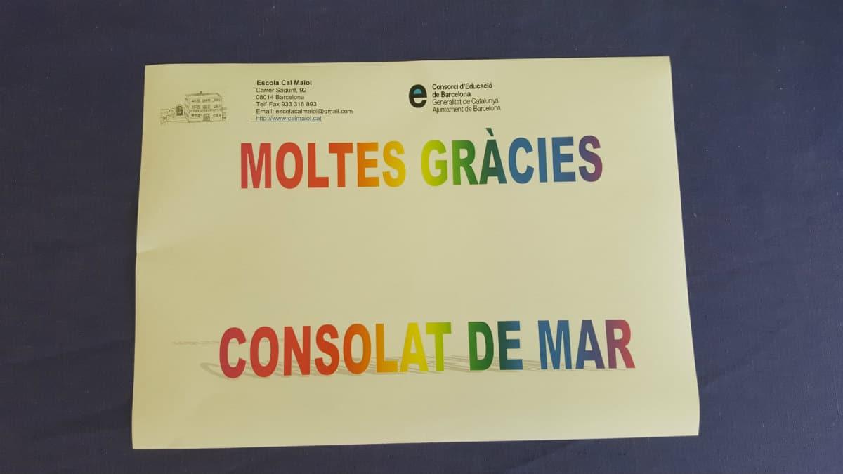 Agradecimiento de la Escola Cal Maiol por la donación de instrumentos de Consolat de Mar