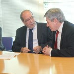 Manuel Robles, Alcalde de Fuenlabrada, y Enrique Barón, Presidente de la FYME