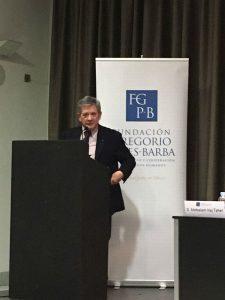 Enrique Barón, durante su ponencia en la IV Jornada Gregorio Peces-Barba sobre DDHH