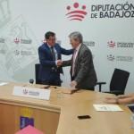 Miguel Ángel Gallardo, Presidente de la Diputación de Badajoz, y Enrique Barón, Presidente de la FYME