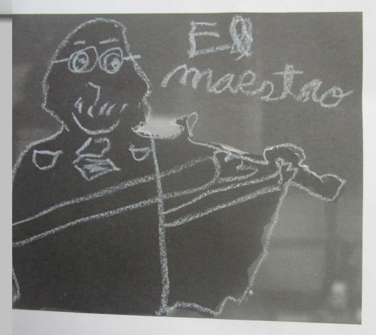 Retrato de Yehudi Menuhin de las alumnas y alumnos del CEIP Ortiz Echagüe de Getafe para la campaña Violines por la Paz