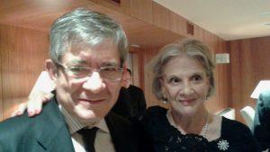 Enrique Barón y Zamira Menuhin en el concierto de la Fundación Albéniz por los refugiados en Grecia.