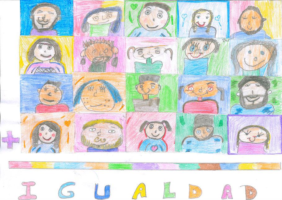 Dibujo de los niños y niñas de 6º del CEIP Santa Engracia de Badajoz por la Igualdad de Género