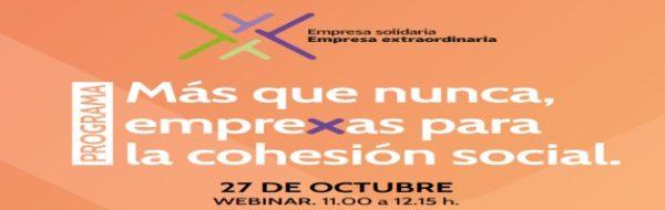 Este martes 27 de octubre, Webinar de la Plataforma del Tercer Sector: 'Más que nunca, empreXas para la cohesión social'