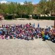Violín humano compuesto por los niños y niñas MUS-E de Castilla-La Mancha, en el Día MUS-E 2016.